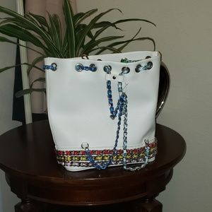 Betsey Johnson white chain of command backpack